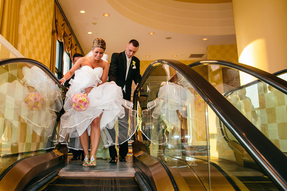 baltimore marriott waterfront bridal party on elevator