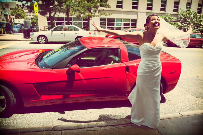 bride with red corvette
