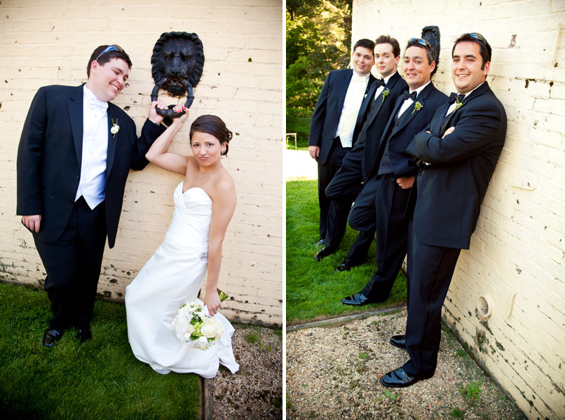 bride and groom and groomsmen