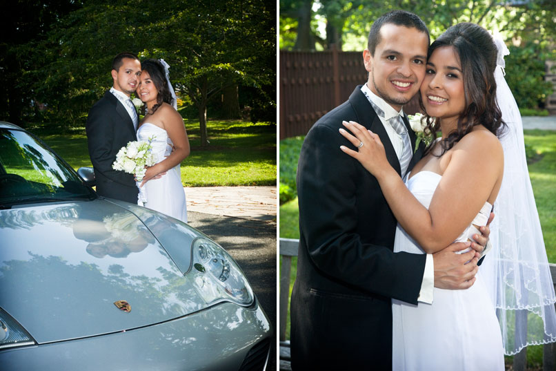 Bride and Groom next to a Porshe