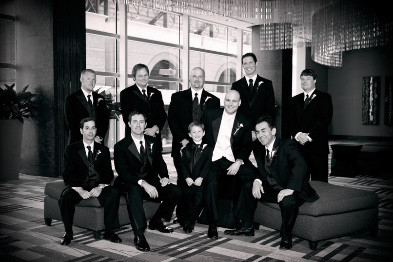 groom and groomsmen black and white
