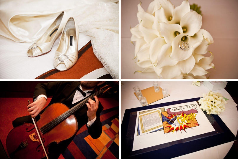 shoes flowers cello and ketubah
