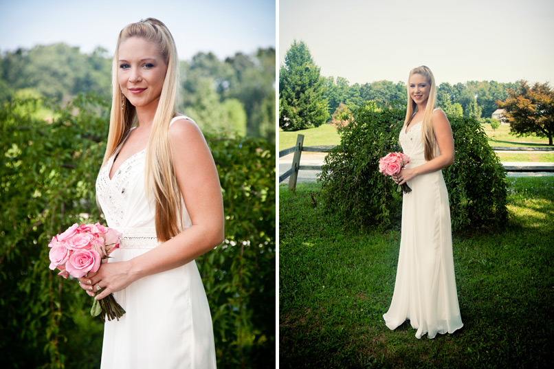 Bride With Pink Roses on Farm
