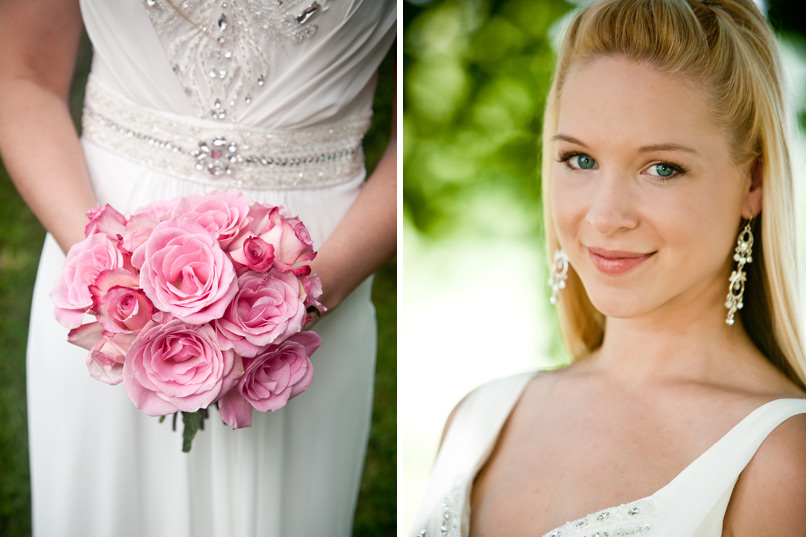Bride With Pink Roses and Green Eyes