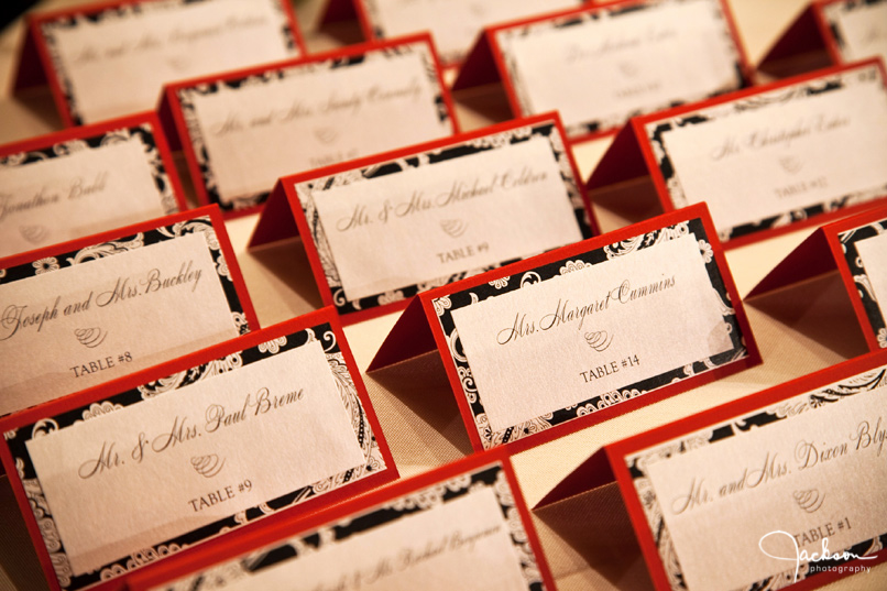 Red Black and Silver Place Cards A brilliantly designed set of red black