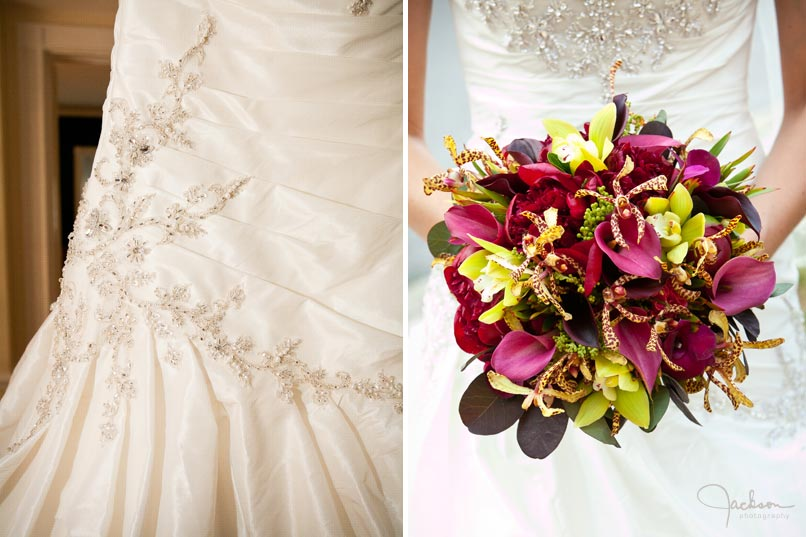 bride's gown and flowers