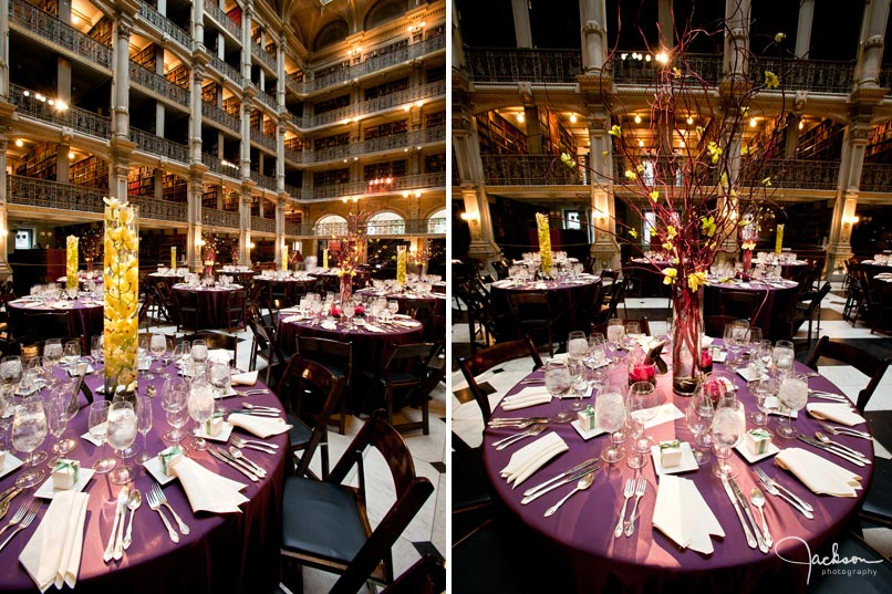 elaborate table set up at peabody library
