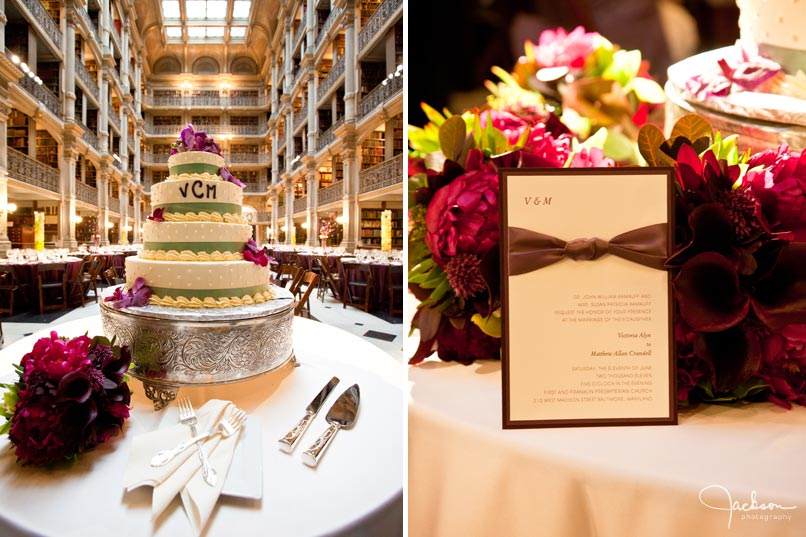 cake and invitation at peabody library
