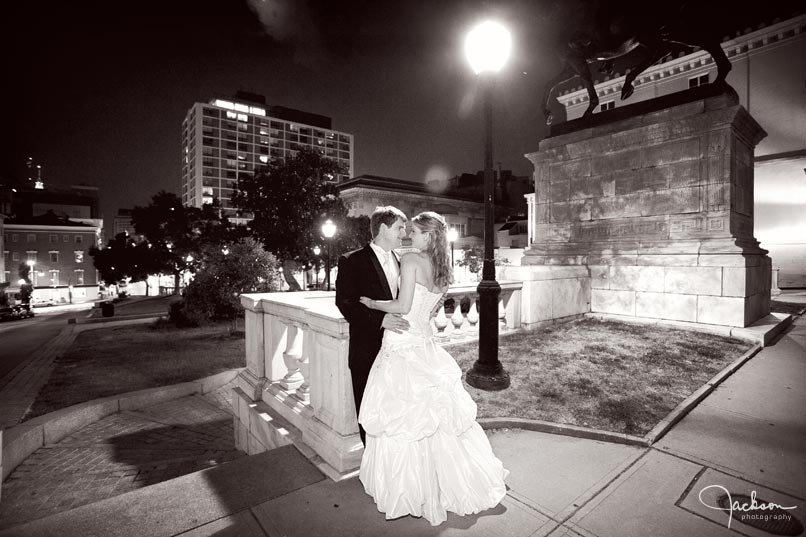 bride and groom in Baltimore at night
