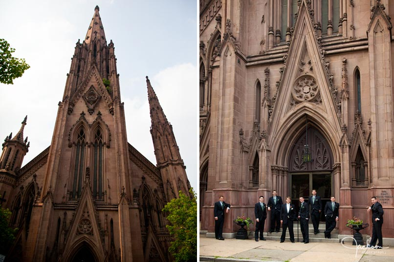 groom in front of brownstone church