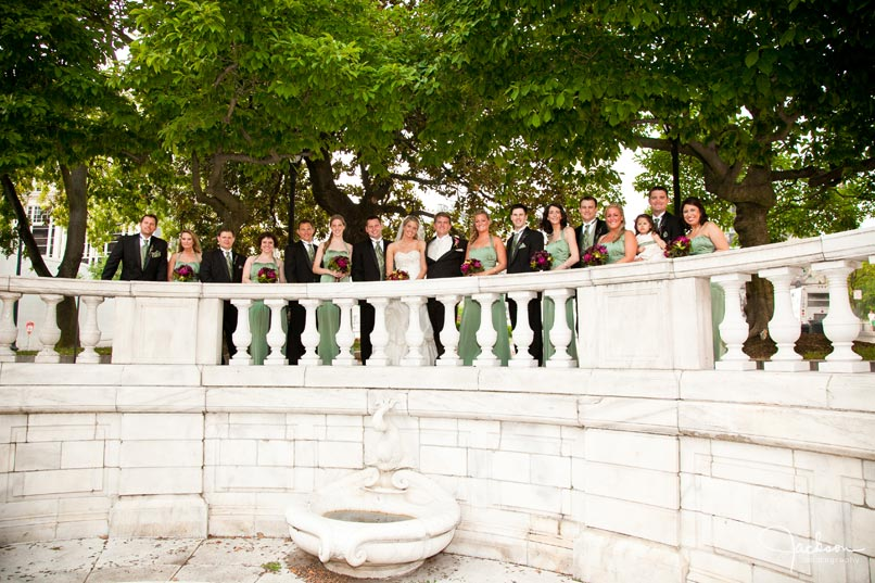 bridal party in mount vernon square