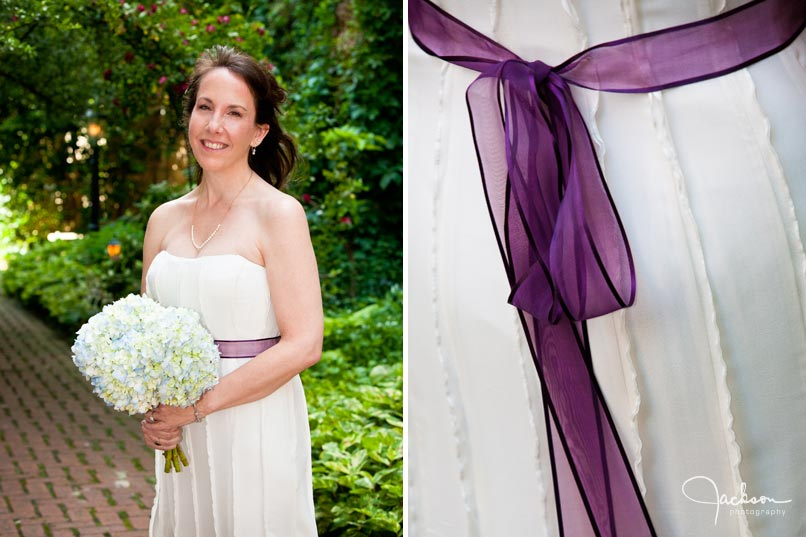 bride with purple ribbon