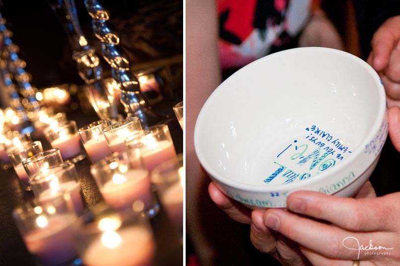 candles and personalized bowls from wedding