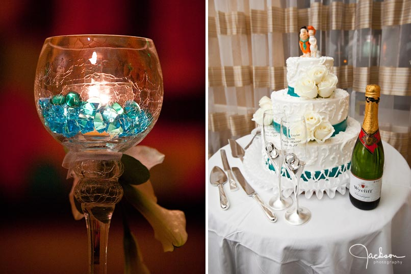 blue candle flinstone wedding cake