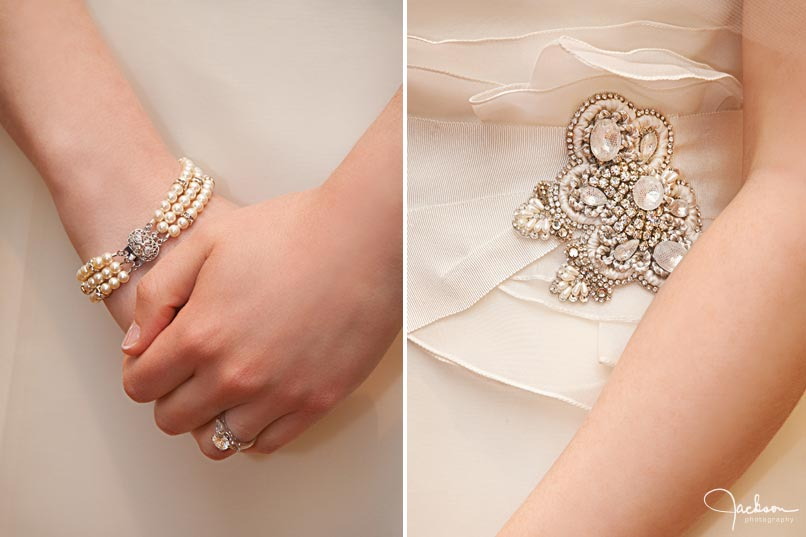 detail of bride's bracelet and beaded dress