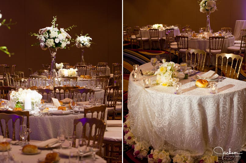 bride and groom's table at reception