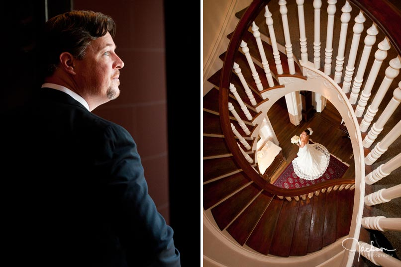 bride down spiral staircase
