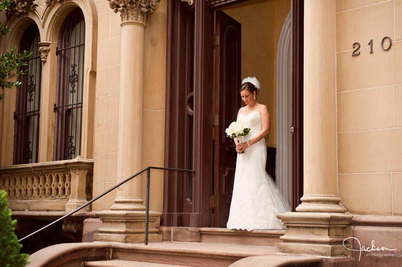 bride in front of Backus House