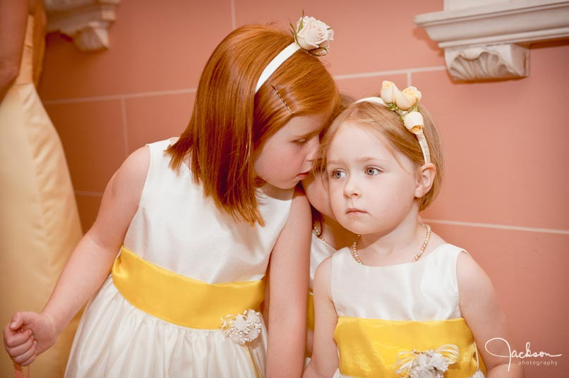 flower girls in yellow and white
