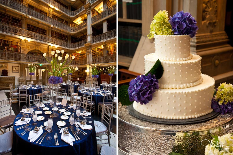 table setting and cake at peabody library baltimore