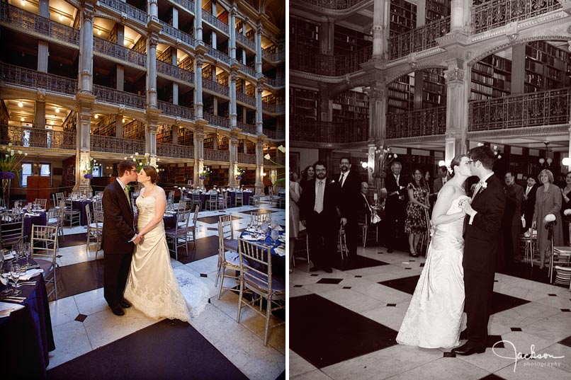 bride and groom at peabody library