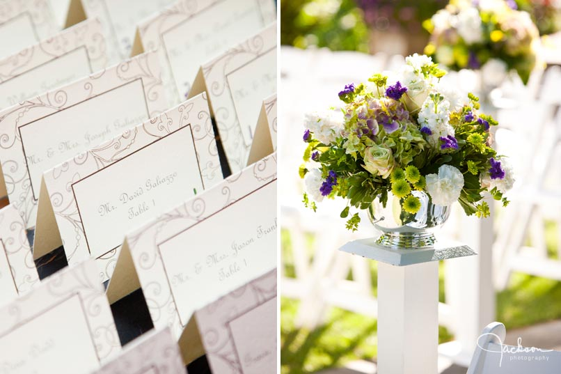 place cards and aisle flower decorations
