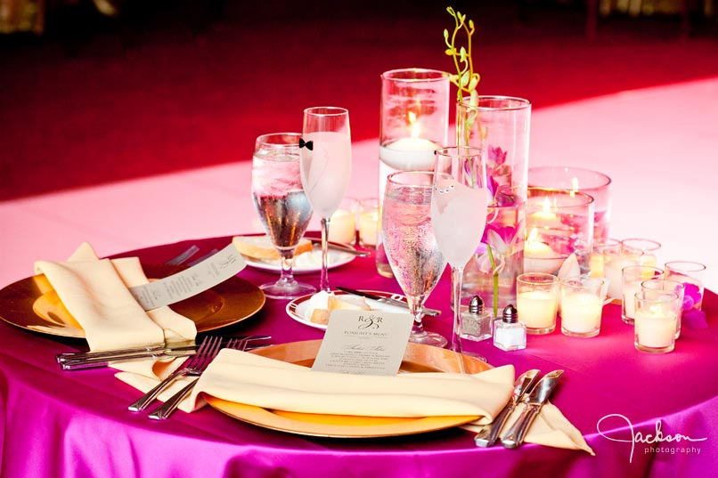 bridal table at reception in pink