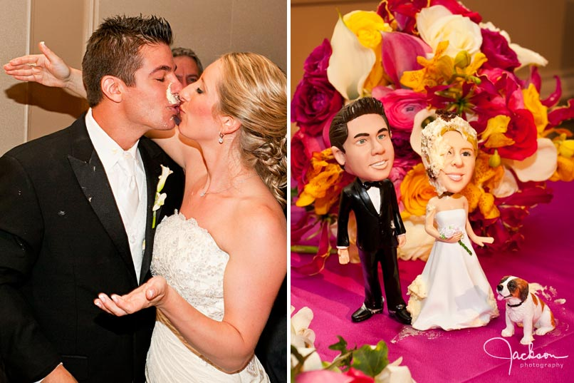 bride and groom messy cake cut with bobble head