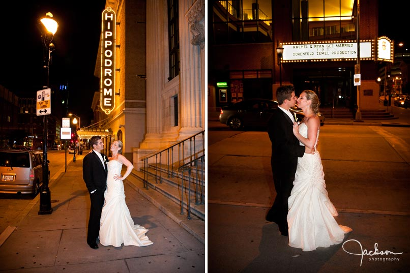 bride and groom outside of hippodrome