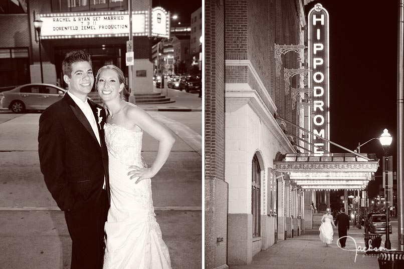 bride and groom outside of the hippodrome