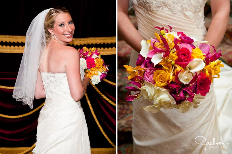 bride with pink yellow white orchid bouquet