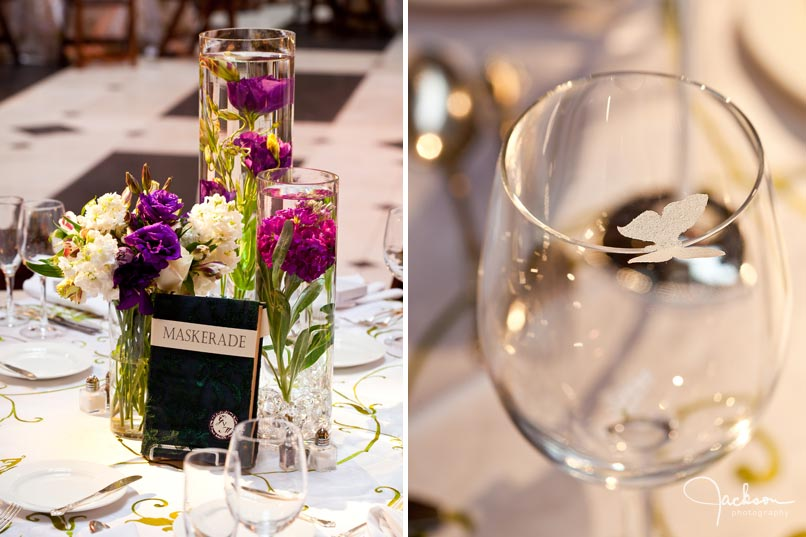 butterfly crystal on wine glass with book theme wedding