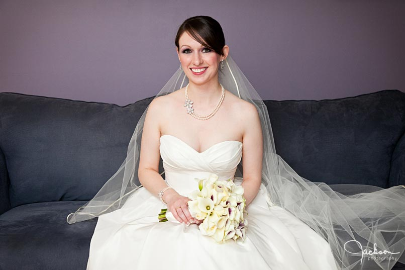 bride on purple couch