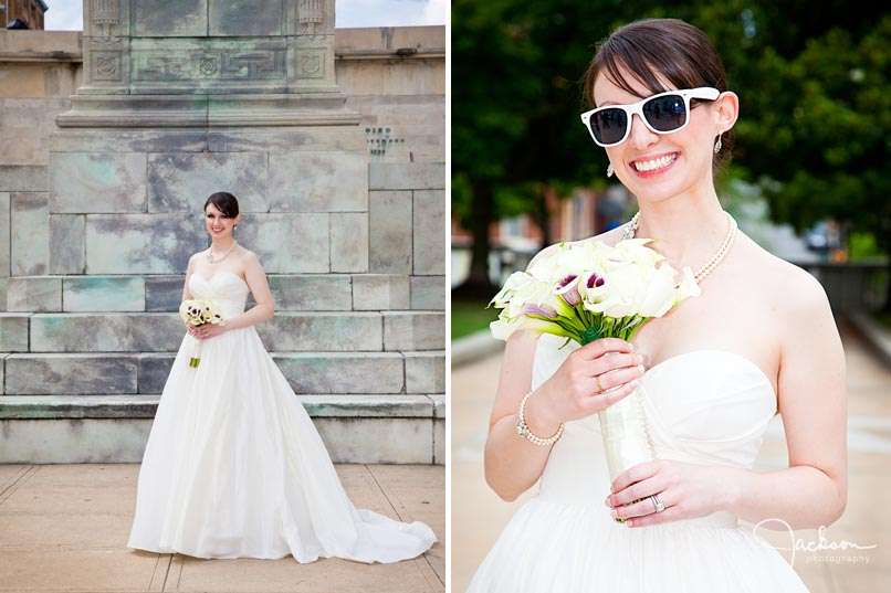 bride posing with sunglasses in mount vernon