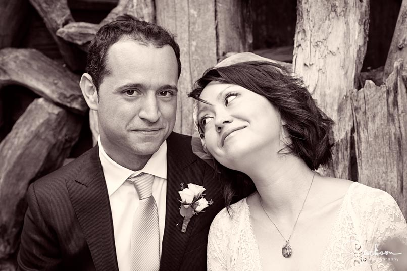 close up bride and groom sepia photography