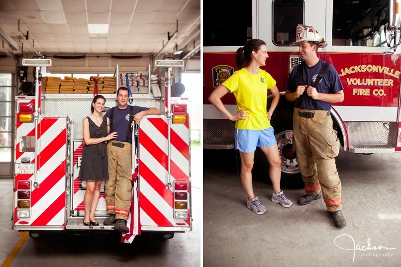engagement photography at firehouse fireman