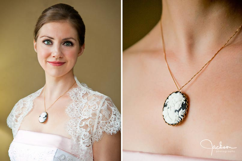 bride with detailed antique ivory necklace