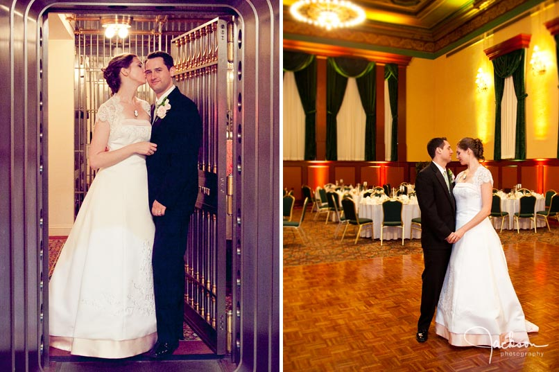photography of bride and groom in bank safe