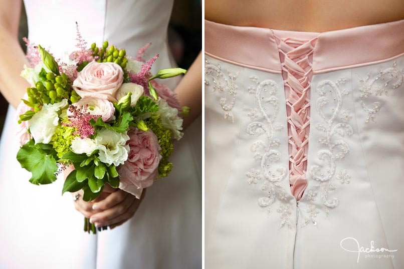 green flowers pink laces of bridal gown