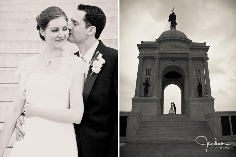 bride and groom photography at memorial