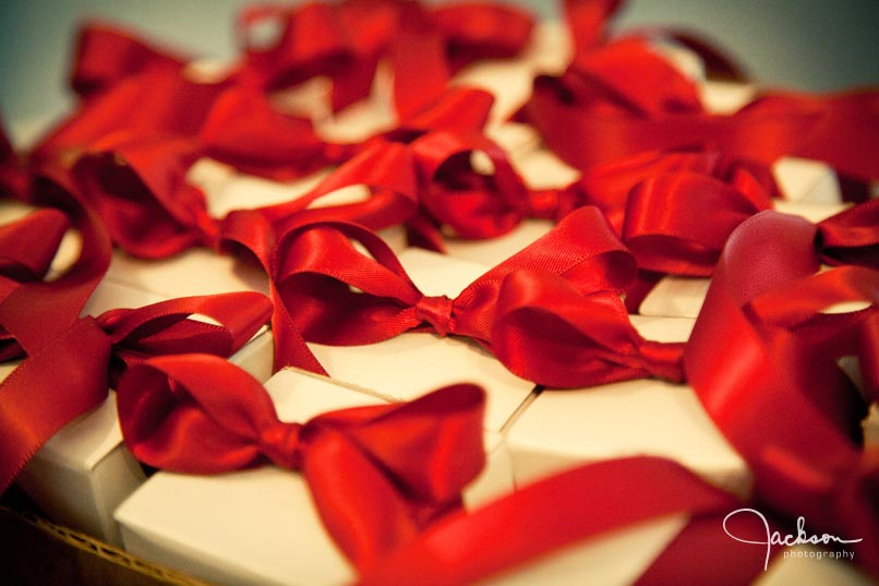red bows on bridal gifts
