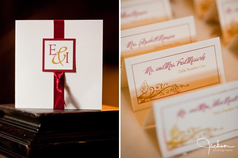 red and white monogram invitation