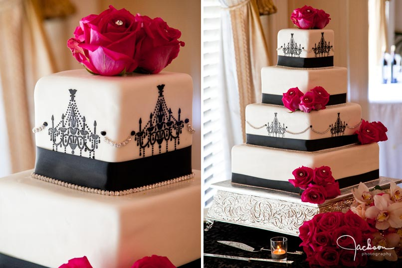 black and white wedding cake ornate pink flowers