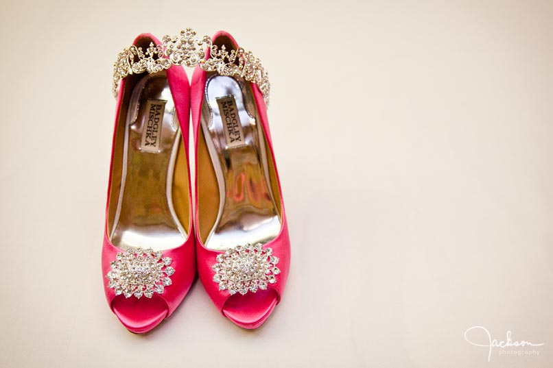 hot pink bridal shoes with jewelry