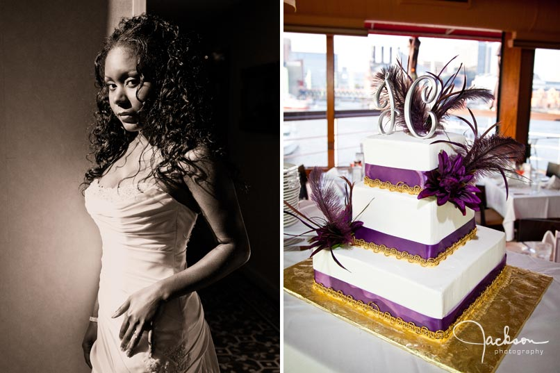 purple and white feathered wedding cake