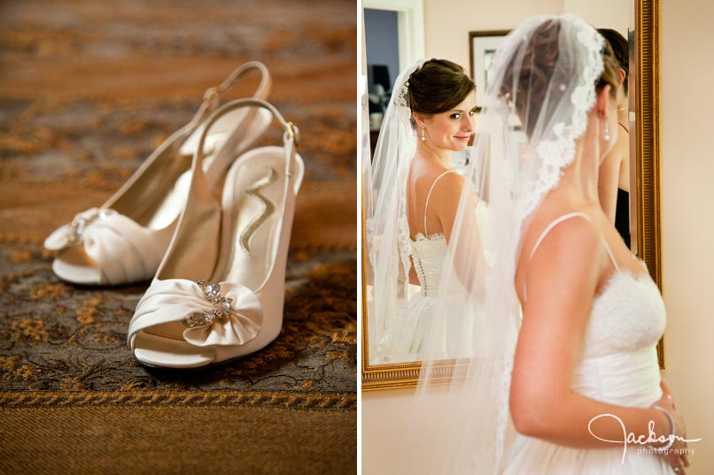 bride looking in mirror - bridal shoes