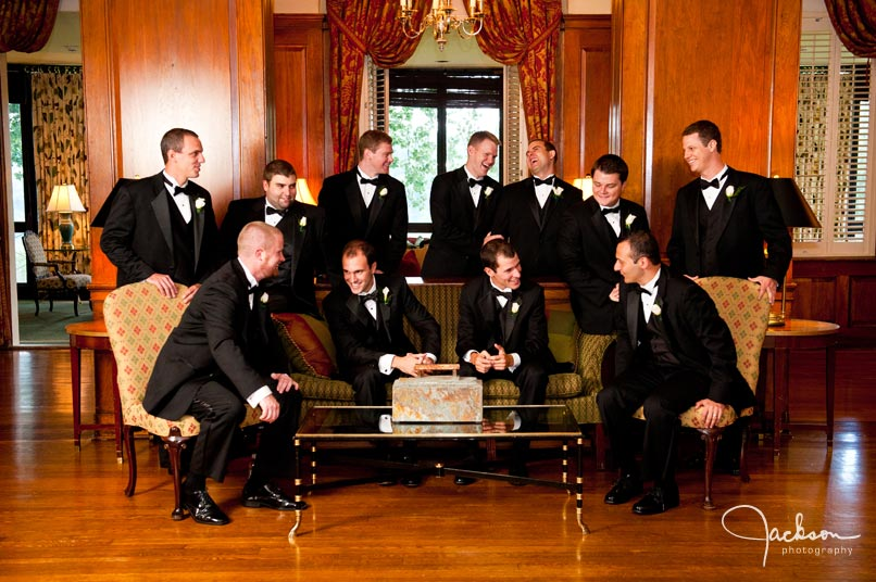 groomsmen relaxing on couches
