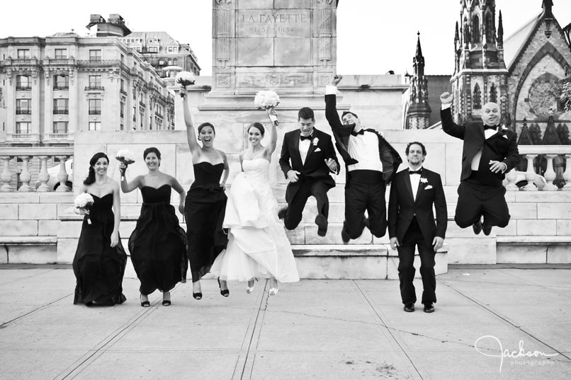 bridal party jumping in mount vernon
