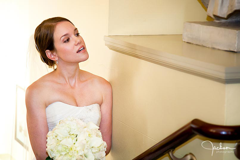 bride peering around the corner