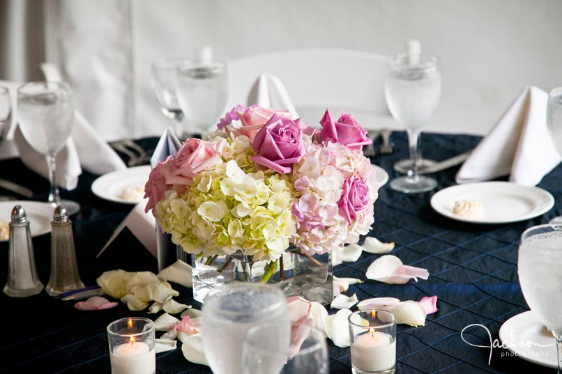 pink yellow blue table arrangements